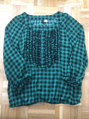 Bluse, Gr. 38, H&M, grün, schwarz, kariert