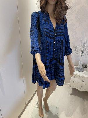 Ruche blouse zwart-blauw