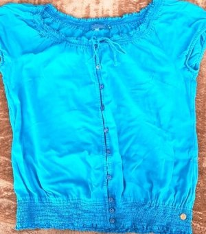 Cool Code Short Sleeved Blouse cornflower blue cotton
