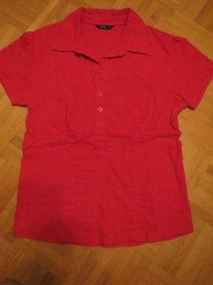 Bluse, Gr.42/M, rot, stretch, Kurzarm