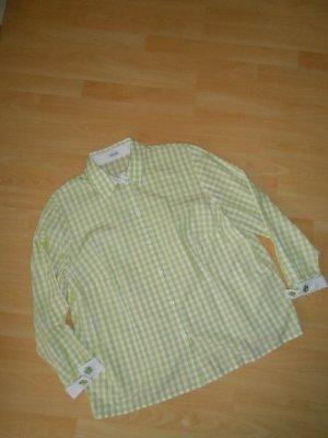 Atelier Goldener Schnitt Bluzka w kratę biały-trawiasty Bawełna