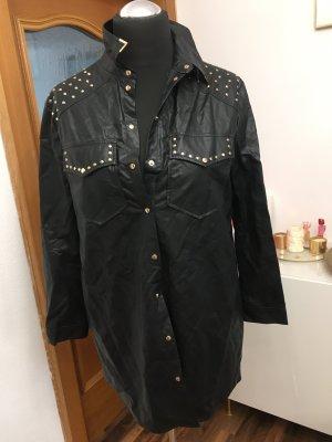 Zara Blusa de cuero negro