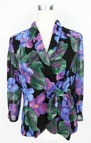 Bluse Gr.M Blumenbluse Wickelbluse Chiffonbluse