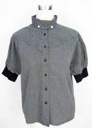 Blouse à col montant noir-gris clair coton