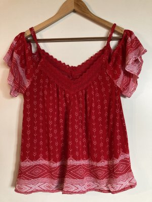 Bluzka typu carmen czerwony-biały