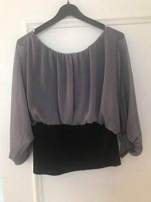 Bluse grau/schwarz