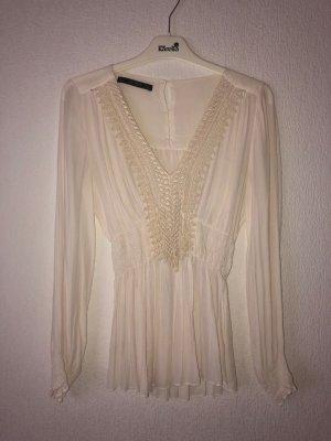 Bluse Größe 36 cremefarben Zara