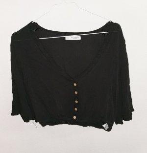 Pull & Bear Cropped Shirt black