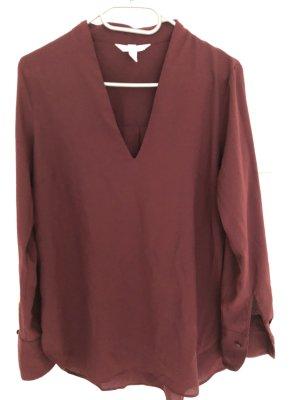 H&M Długa bluzka bordo-głęboka czerwień Tkanina z mieszanych włókien