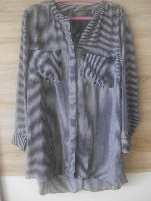 H&M Basic Blusa larga azul-blanco Poliéster