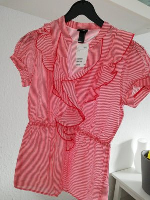 H&M Ruche blouse wit-rood