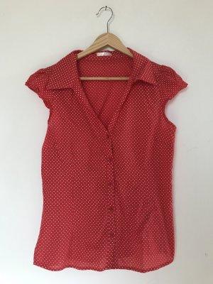 Bluse halbarm rot weiß gepunktet tolles Sommeroutfit