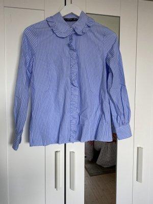 Hallhuber Cols de blouses bleu azur-blanc