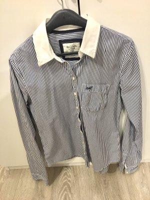 Abercrombie & Fitch Camicia a maniche lunghe bianco-blu scuro