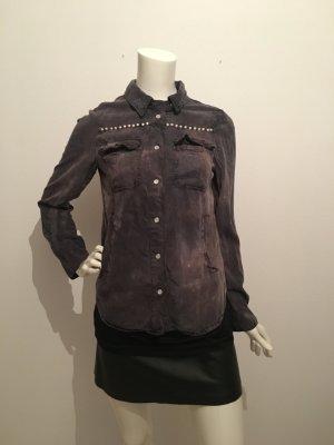 Bluse Hemd Anthrazit grau rötlich Rich & Royal Marke Designer hochwertig cool faded out bleiches destroyed Druckknöpfe seitliche Taschen 36