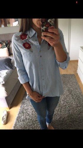 Bluse Hemd blau Blumendruck rot Pailetten ZARA 34/36