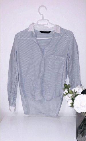 Bluse hemd blau weiß gestreift zara basic