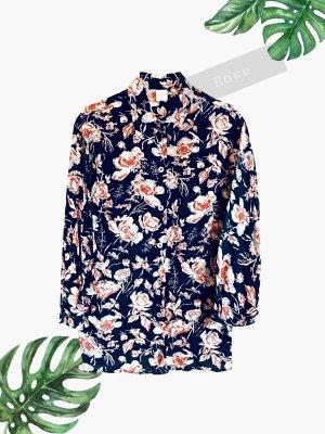 Bluse Hemd Blumen Rosen rost rot schwarz weiß lange Ärmel crop | vintage | 40