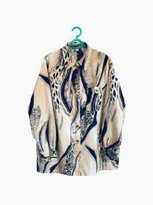 Bluse Hemd Creme Marmor optik Oversize Leo schwarz goldene knöpfe | vintage | 42