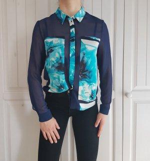 Bluse hemd esprit blau weiß durchsichtig t-shirt shirt tshirt top pulli pullover sweater hoodie