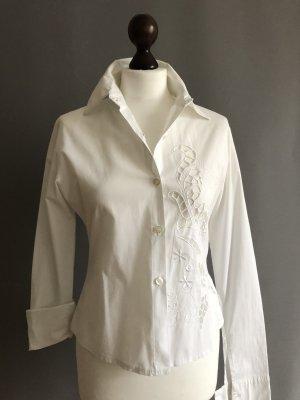 Bluse Hemd Hemdbluse langarm, mit Stickerei
