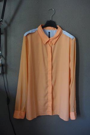 Bluse, Hemd, lachsfarben, hellblau, W118 by Walter Baker,