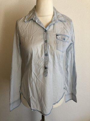 Bluse Hemd Langarmbluse hellblau leicht Gr. 36