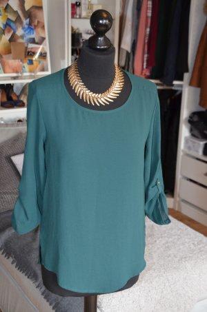 Bluse / Hemd mit krempelbaren Ärmeln und Golddetails