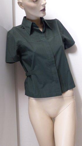 Chemise à manches courtes vert foncé tissu mixte