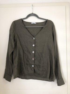 Bluse Hemd mit V-Ausschnitt Khaki Taupe Grün Mango