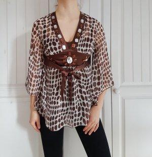 Bluse hemd oberteil Top croptop crop braun weiß perlen steine t-shirt shirt tshirt pulli pullover Cardigan strickjacke