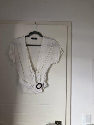 Bershka V-Neck Shirt white