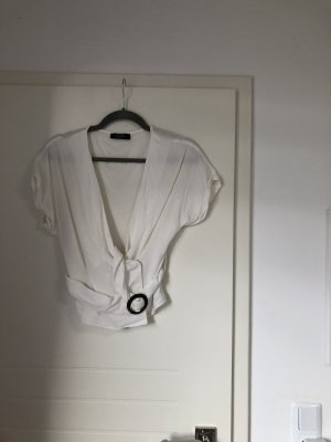 Bluse Hemd Shirt mit Taillengürtel V-Ausschnitt in Weiß