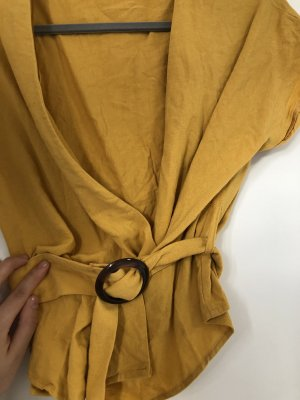 Bershka V-Neck Shirt light orange-gold orange