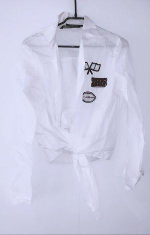 Bluse Hemd Stickerei Zara weiß knot knoten patches elegant