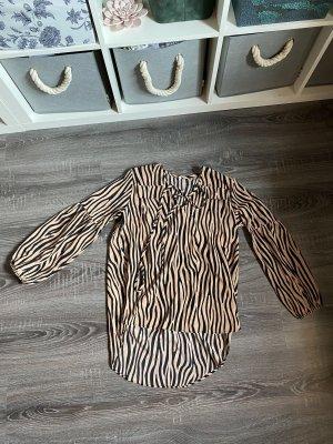 Bluse Hemd Zebra Muster plusterärmel beige orange braun schwarz gestreift Brusttasche Bänder schnüren