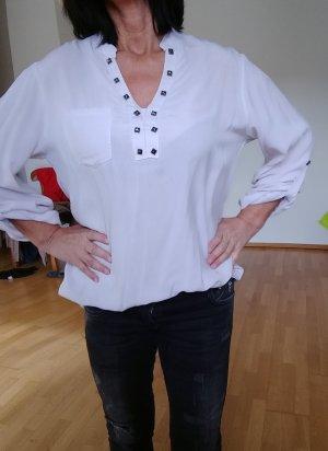Bluse, Hemdbluse, oversize, grau/rose, Gr. XL
