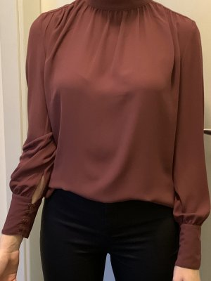 H&M Blusa de cuello alto burdeos-rojo zarzamora
