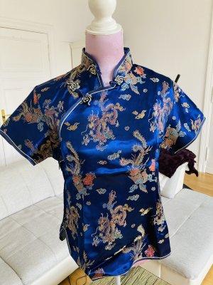 Kimono blouse goud-blauw