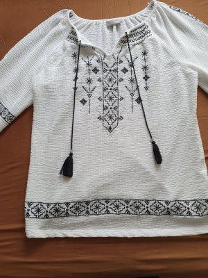 Canda Premium Tunic Blouse white-dark blue cotton