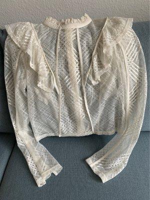 Hennes & Mauritz Bluzka z falbankami w kolorze białej wełny