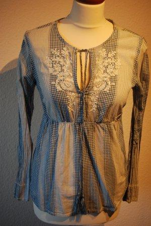 Bluse in blau weiß mit Stickerei von H&M in Gr. 36 Hippie 70´er Look