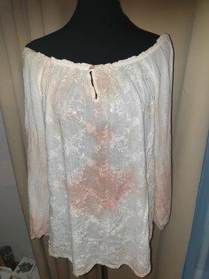 Bluse in creme und mocca in Größe 38