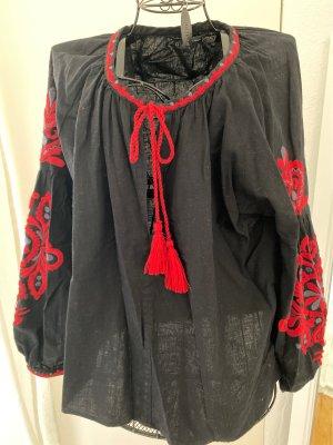 Zara Bluzka tunika czarny-czerwony