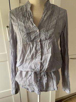 Camicia blusa argento-azzurro Tessuto misto