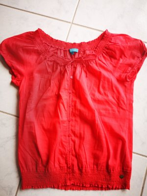 Cool Code Ruffled Blouse bright red