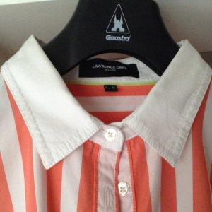 Bluse in Modefarbe orange mit weißem Kragen