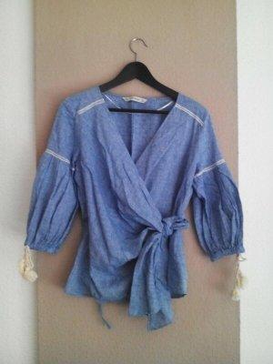 Zara Kopertowa bluzka jasnoniebieski-w kolorze białej wełny Bawełna