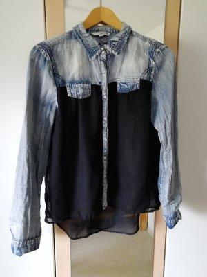 Bluse Jeans/Transparent Gr. 38