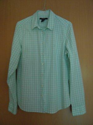 Gant Geruite blouse wit-munt Katoen